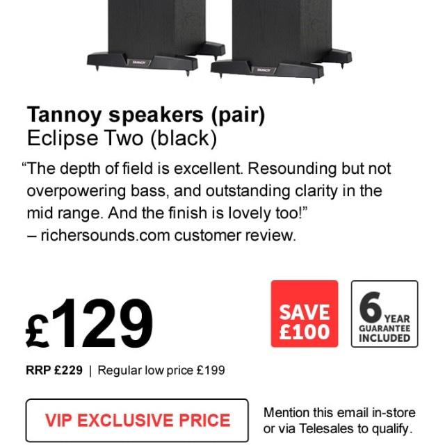 Tannoy Eclipse Two floorstanding speakers floorstanders £129 @ richer sounds