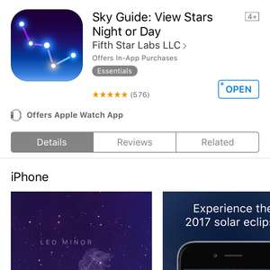 Sky Guide: View Stars Night or Day  5/5 Free @ itunes
