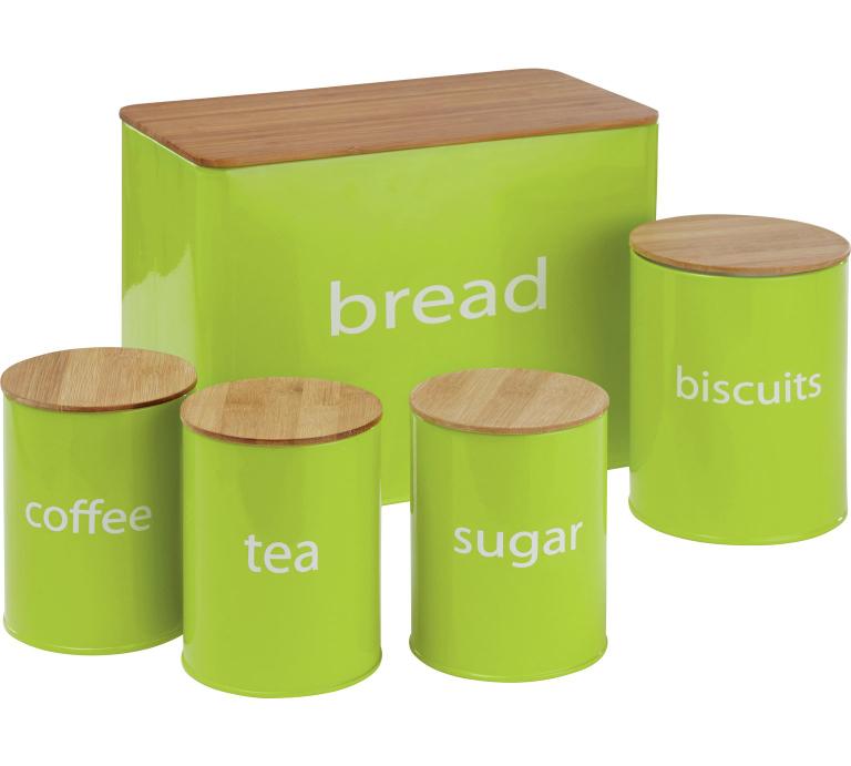 colour match 5 piece set with wooden lids lime green £7.99 @ argos