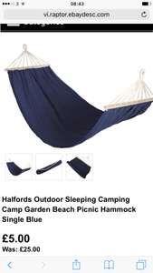 Halfords Outdoor Sleeping Camping Camp Garden Beach Picnic Hammock Single Blue £5 + £2.99 delivery - ebay / Halfords