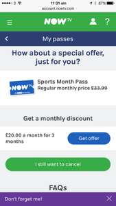 Now tv sky sports 3 months for £20 per month