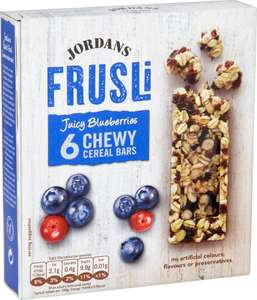 Jordans Frusli Juicy Red Berries or Blueberries Chewy Cereals Bars (6 x 30g = 180g) ONLY £1.00 @ Iceland