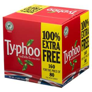 Typhoo Foil Fresh Teabags (80 + 100% FREE =160 = 500g) was £2.00 now £1.50 @ Iceland