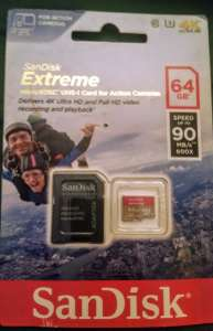 SanDisk Extreme 64GB  microSDXC UHS-I Card for action cameras £3.50 in Asda