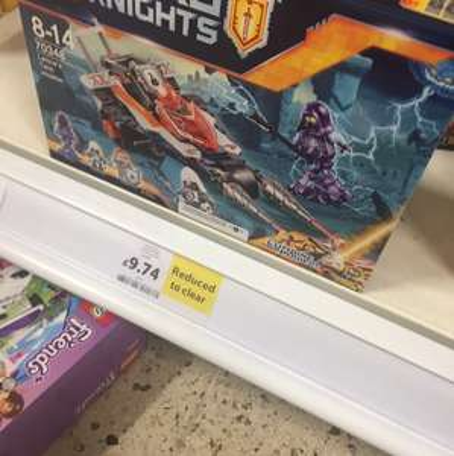 Nexo knights . Down from £25 to this. Tesco dalmarnock £9.74