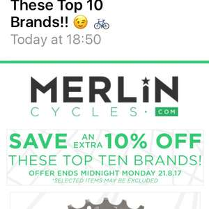 Merlin cycles 10% off certain brands