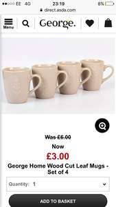 Set of 4 leaf cups from asda £3 half price plus free C&C