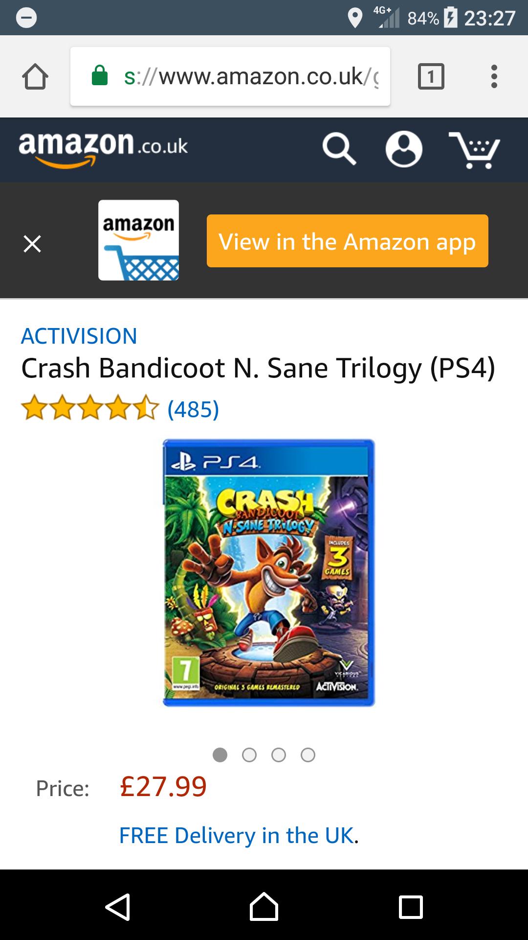 *READ DESCRIPTION FULLY* Crash bandicoot n sane trilogy ps4 £27.99 POSSIBLY £11.99 AFTER vouchers @ Amazon