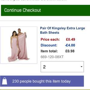 Kingsley Bath Sheet Pair 49p + £4.99 delivery @ Studio