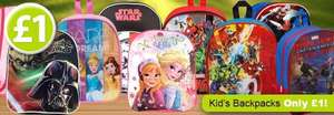 Kid's Disney & Marvel Back Packs Only £1 at Poundshop plus £4.95 delivery