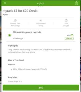 £20 Taxi credit for Only £5 at Groupon