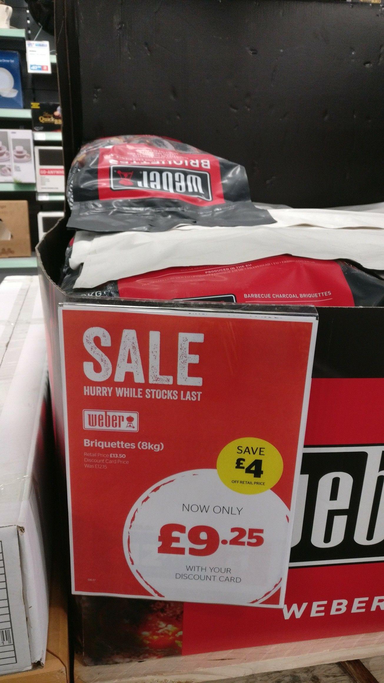 Weber charcoal briquettes 8kg - £9.25 @ Go Outdoors Ipswich.