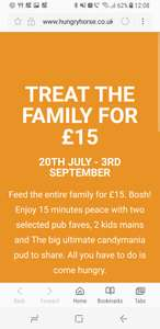 Hungry Horse, Feed The Family For £15, 2 adult meals, 2 kids meals and a CandyMania.