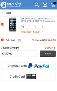 LeTV LeEco Le Max 2 X821 5.7 Inch 4G LTE Smartphone Snapdragon 820 Quad Core 4GB RAM 32GB ROM/Internal storage Android 6.0 Touch ID - Gray £144.36 using code KIMOVIL (applied once logged in) @ Geekbuying