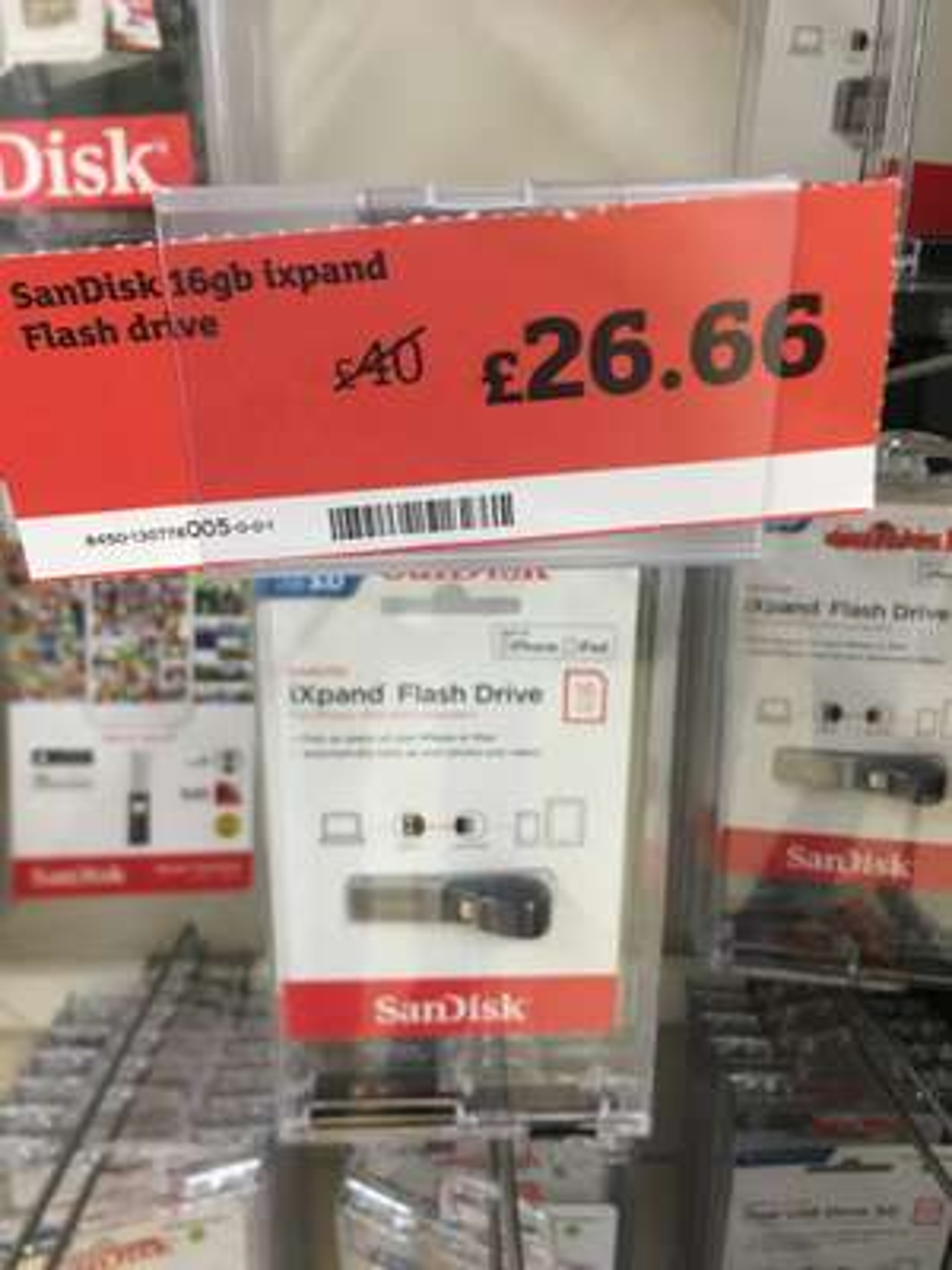 Sandisk Ixpand 16GB £26.66 @ Sainsbury's