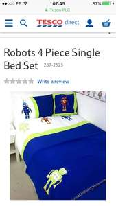 Robots 4 Piece Single Bed Set Free standard delivery or C&C @ Tesco (sold by Childrens Rooms LTD)