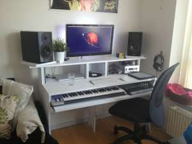 """Glorious workbench"" Music studio desk white £272 black £283 at Bax"