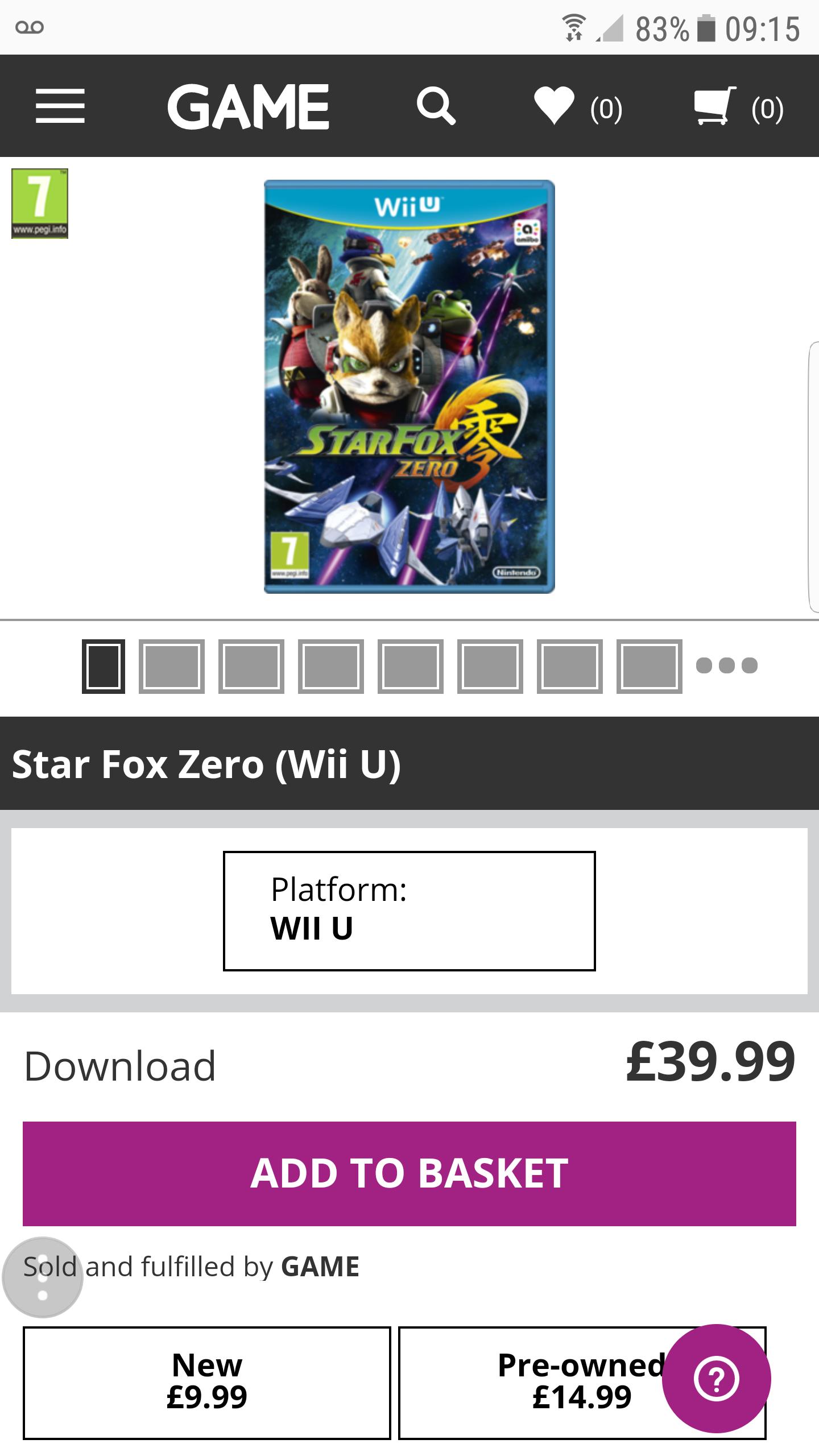 Star Fox Zero(Wii U) £9.99 @ Game