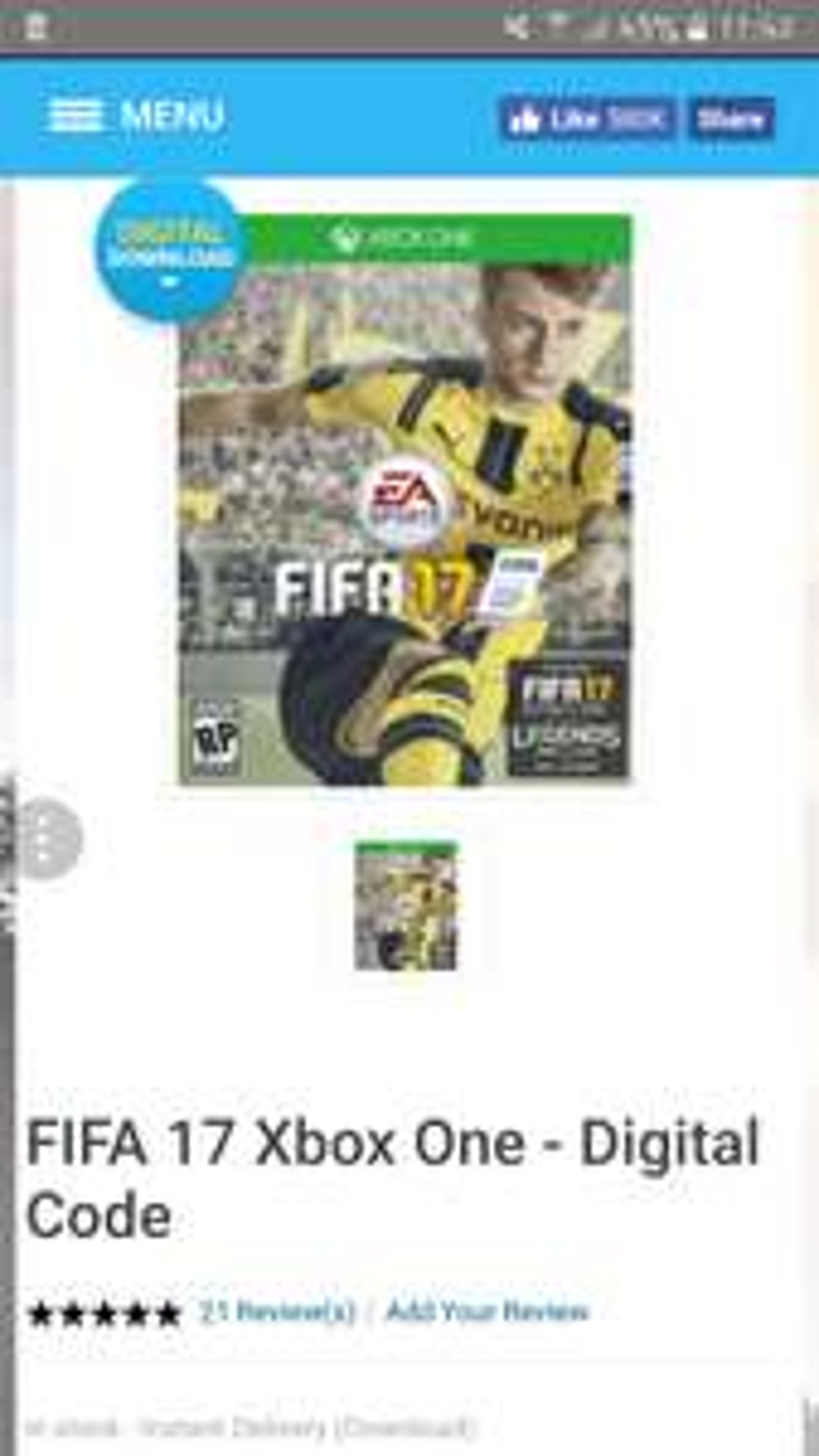 Fifa 17 £8.99 xbox one cdkeys.com