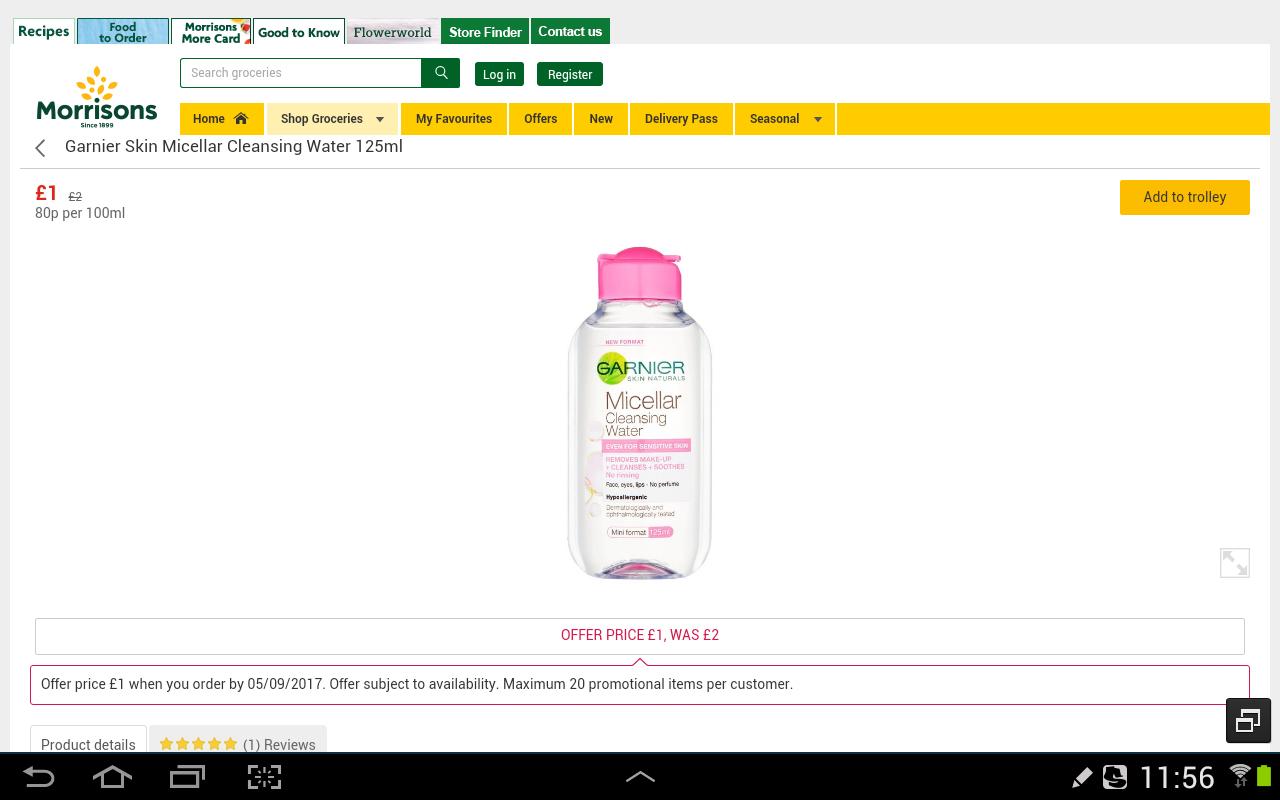 Garnier  cleansing water 125ml half price £1 @ Morrisons