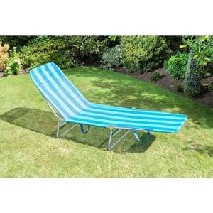 Folding Sun Lounger in Blue or Black, Now £4.99 instore B&M