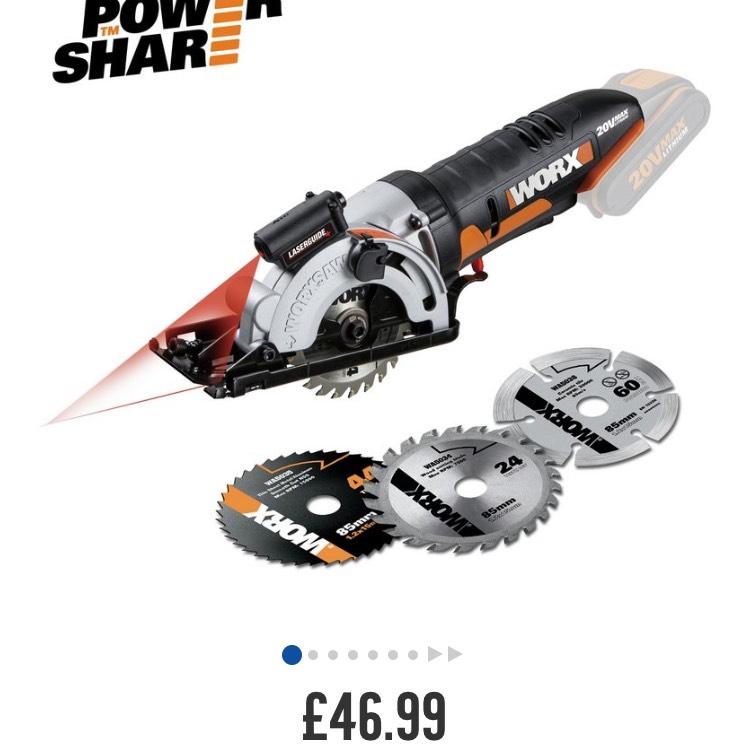 Worx 20v mini compact saw - £46.99 @ Argos