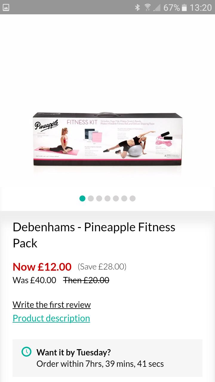 Pineapple get fit/yoga set £12 from £40 Debenhams - £2 c&c