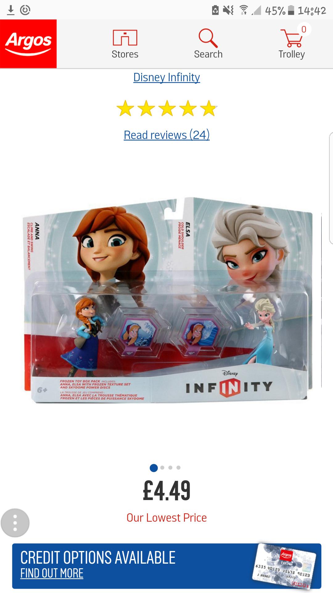 Disney infinity frozen pack £4.49 @ Argos