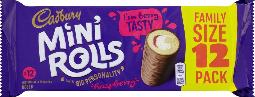 Cadburys Chocolate or Raspberry Mini Rolls (10 Pack) Half Price Was £2.49 Now £1.24 @ Tesco