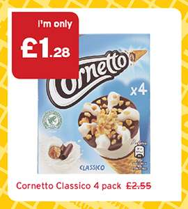 Classic Cornetto (4 Pack) was £2.55 now £1.28 @ One Stop