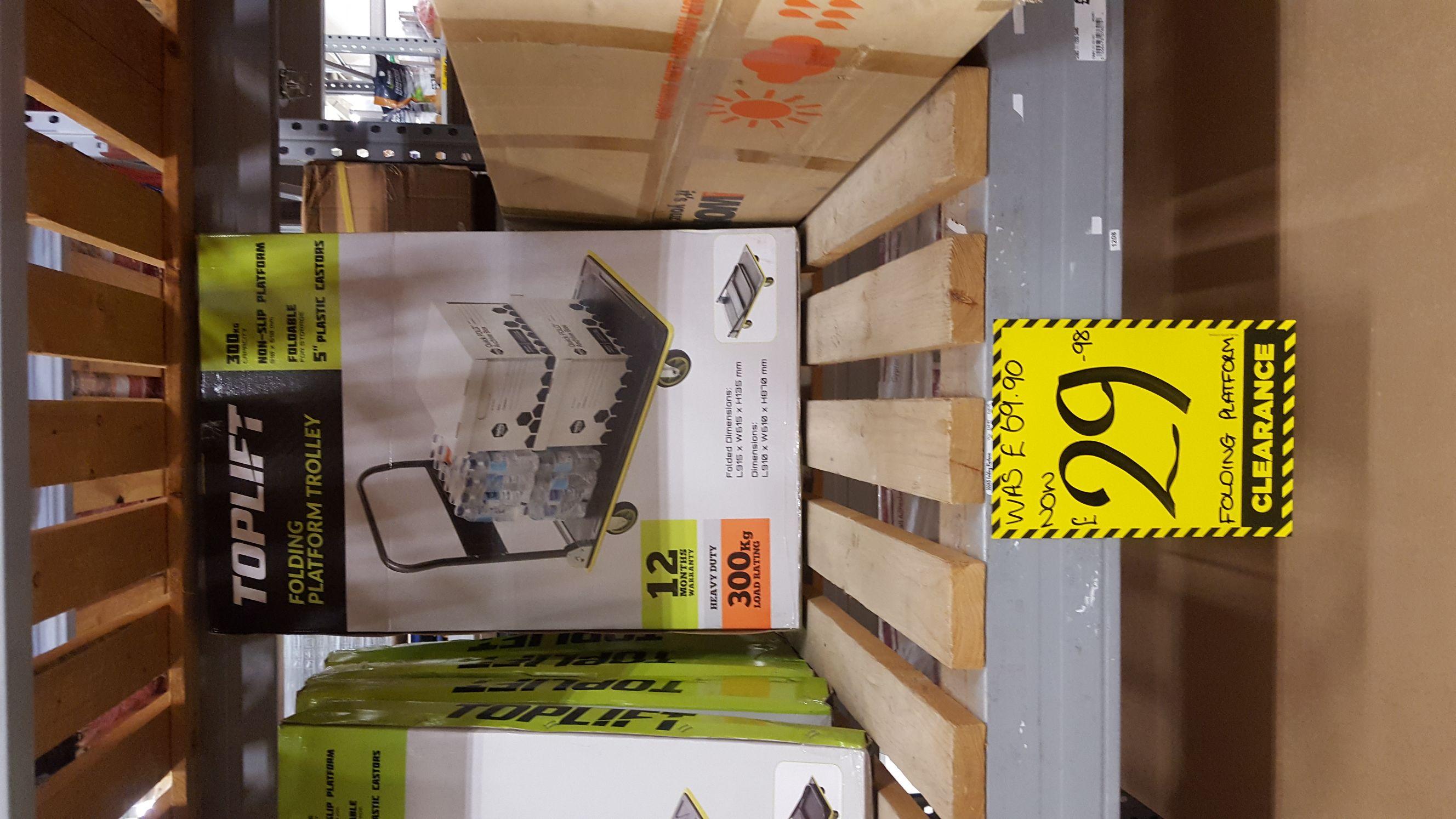 Toplift folding platform trolley 300kg capacity was £69.99 now £29.99 @ Homebase instore