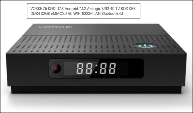 VORKE Z6 KODI 17.3 Android 7.1.2 Amlogic S912 4K TV BOX 3GB DDR4 32GB eMMC5.0 AC WIFI 1000M LAN Bluetooth 4.1 - £57.52 @ Geekbuying