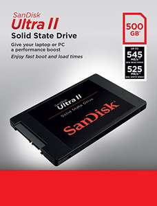SanDisk Ultra II SSD 500 GB SATA III 2.5 inch Internal SSD up to 545 MB/s Read and up to 525 MB/s Write £134.99 @ Amazon