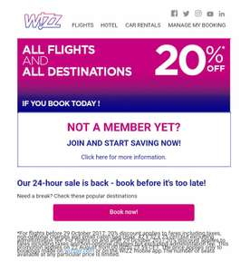 Today ONLY - 20% off at Wizz Air