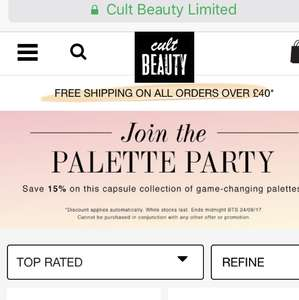 15% off select palettes on cult beauty