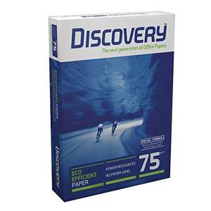 Discovery A4 Value Office Paper - 2500 sheets (5 reams) 75gsm A4 paper (£1.38 per ream) £6.92 (Prime, £11.67 without Prime).