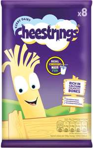 Cheestrings Original or Twisted Cheese Snacks (8 Pack =160g) was £2.75 now £1.37 @ Tesco