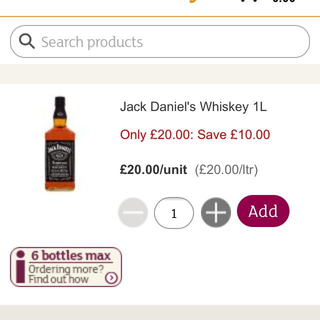 Jack Daniels 1ltr £20 Bargain!! @ Sainsbury's