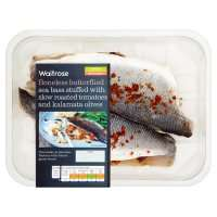 Waitrose boneless sea bass stuffed with slow roast tomatoes & kalamata olive 320g for £4.25 with MyPick at Waitrose