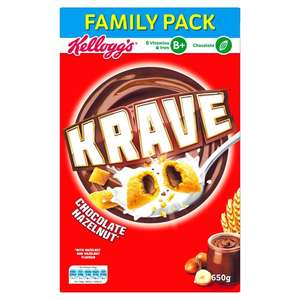 Kellogg's Krave Milk Chocolate or Hazelnut (650g) was £3.99 now 2 packs for £5.00 @ Ocado