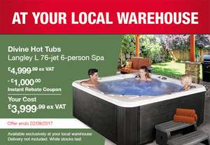 Divine Hot Tubs Langley Deluxe Lounger 76-jet 6 Person Spa (£1000 discount) £3999.99 (ex VAT) @ Costco warehouse