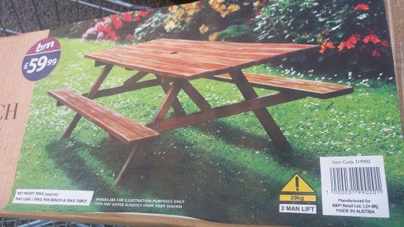 Wooden picnic table £19.99 @ B&M - Saltash