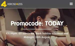 Xercise4Less peak membership, no joining fee for £11.99pm with code