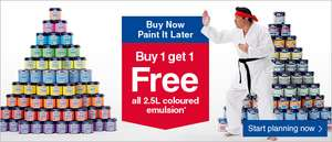 Buy 1 get 1 FREE on all 2.5L coloured emulsion @ Wickes