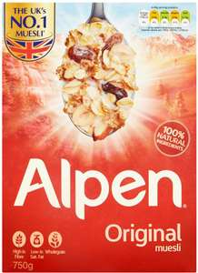 Alpen Original Muesli (750g) was £2.95 now £1.49 @ Tesco