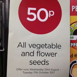 All vegetable and flower seeds 50p at Wyevale.