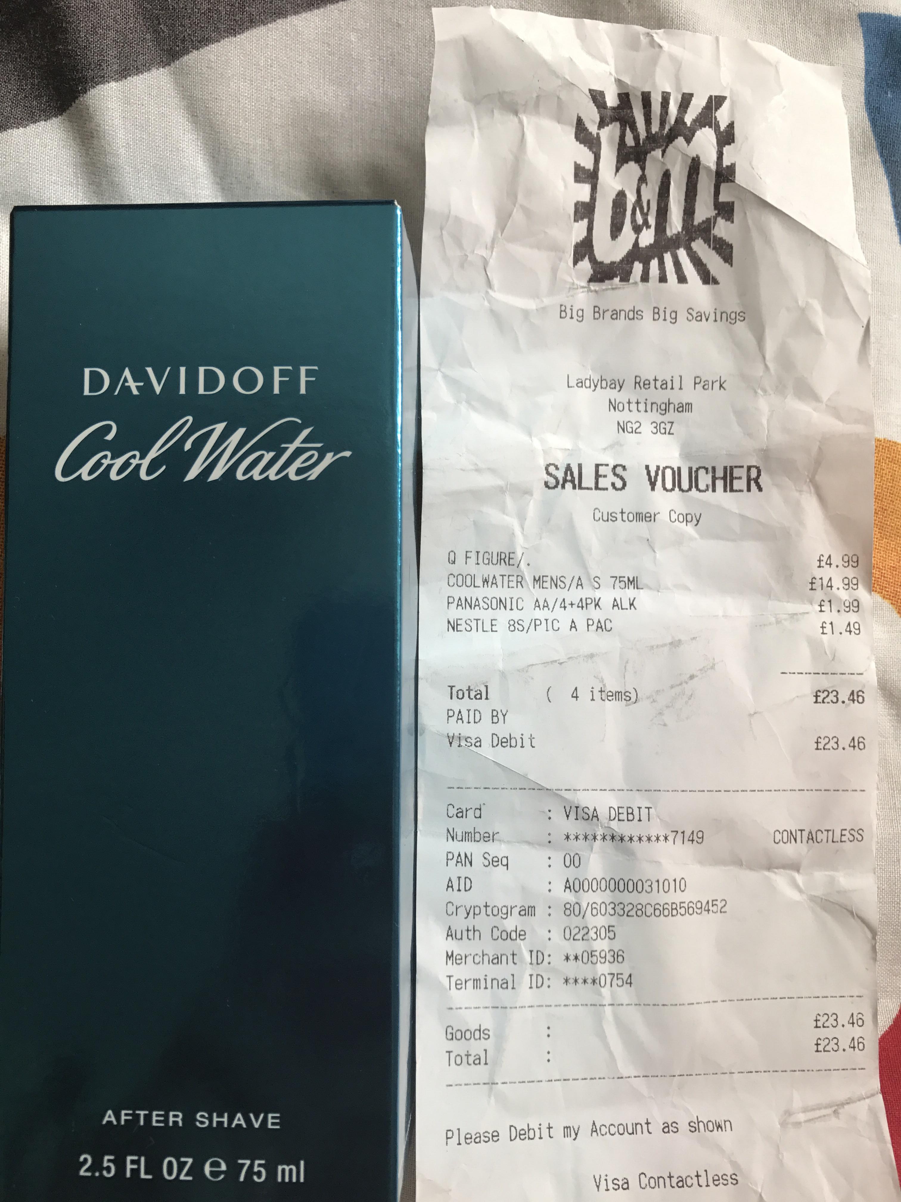 Davidoff cool water - £14.99 instore @ B&M