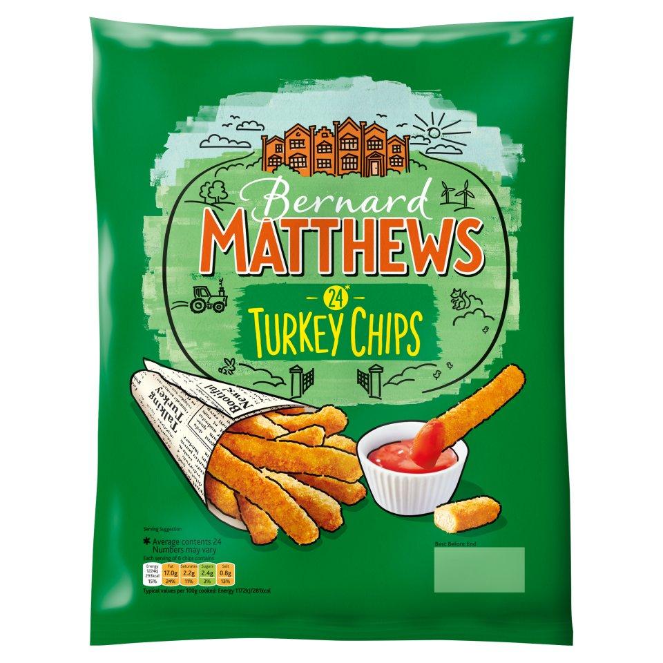 Bernard Matthews Turkey Chips (24 = 420g) was £2.00 now £1.00 @ Iceland