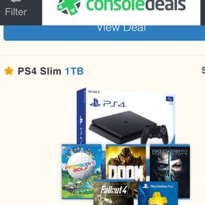 PS4 SLIM 1TB + Everybody's Golf + Doom + Dishonored 2 + Fallout 4 + Playstation Plus 3 Months Membership + Turtle Beach Ear Force P4C £259.99 @TESCO USING code to save £20