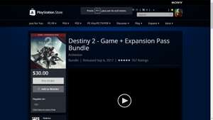 Destiny 2 - Game + Expansion Pass Bundle 30USD (PSN US)